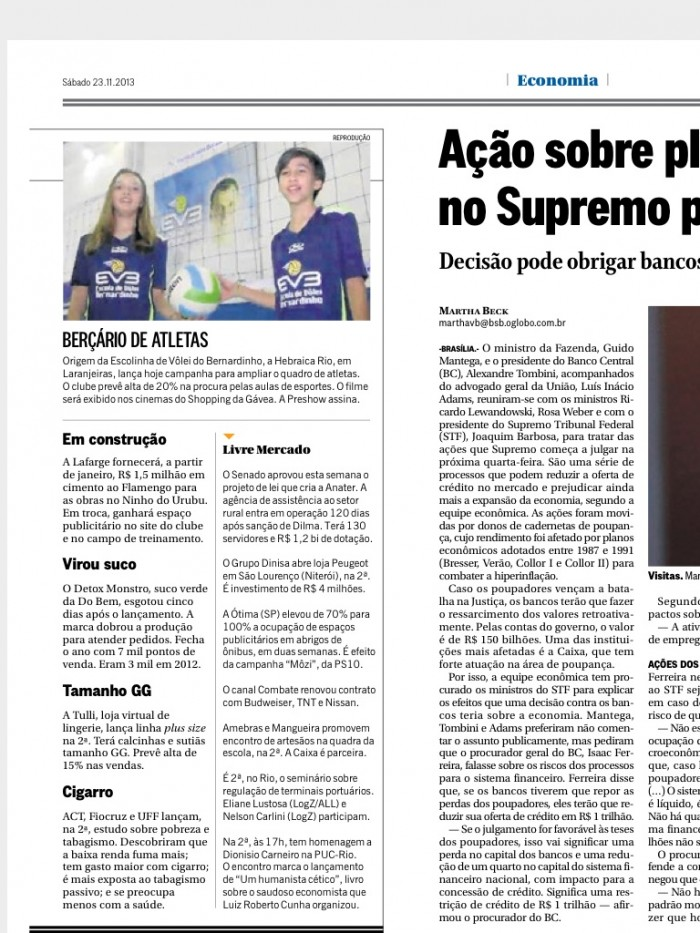 Hebraica Rio é destaque no caderno de Economia do Globo