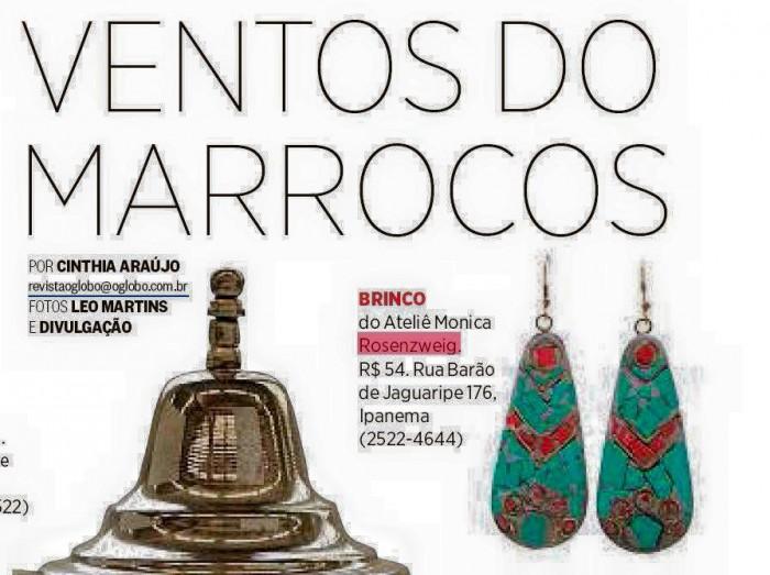 Brinco da designer Monica Rosenzweig é destaque na Revista O Globo
